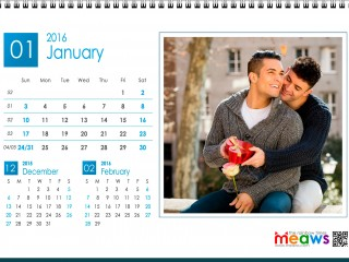 Calendar 2016 Gay Version Printable January 2016