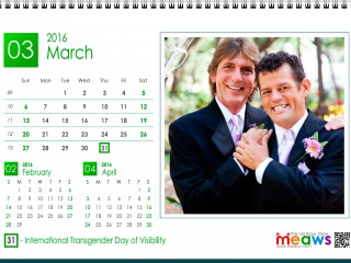 Calendar 2016 Gay Version Printable march 2016