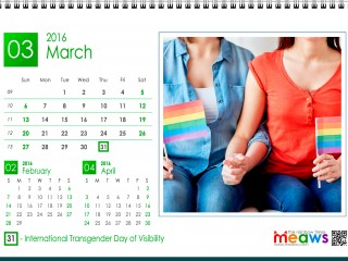 Calendar 2016 Lesbian printaple version March 2016