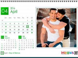Calendar 2016 Gay Version Printable April 2016