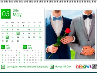 Calendar 2016 Gay Version Printable May 2016