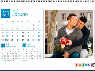 Calendar 2016 Gay Version Printable January 2016