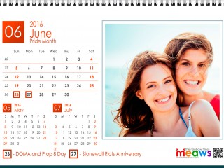 Calendar 2016 Lesbian printaple version June 2016