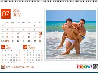 Calendar 2016 Gay Version Printable July 2016
