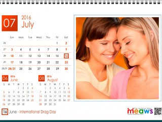 Calendar 2016 Lesbian printaple version July 2016