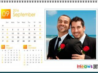Calendar 2016 Gay Version Printable September 2016