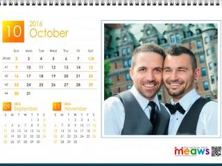 Calendar 2016 Gay Version Printable October 2016