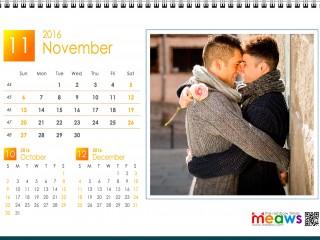Calendar 2016 Gay Version Printable November 2016