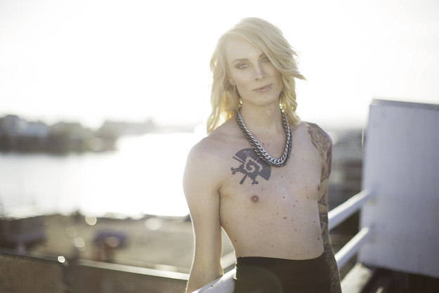 Trans woman posts topless pictures