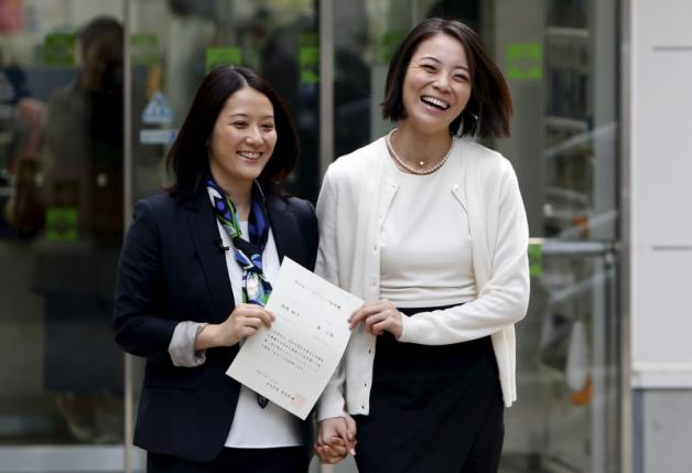 Hiroko Masuhara (L) and her partner Koyuki Higashi