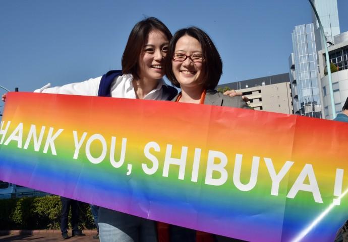 Japanese gay couple Hiroko Masuhara (L) and Koyuki Higashi