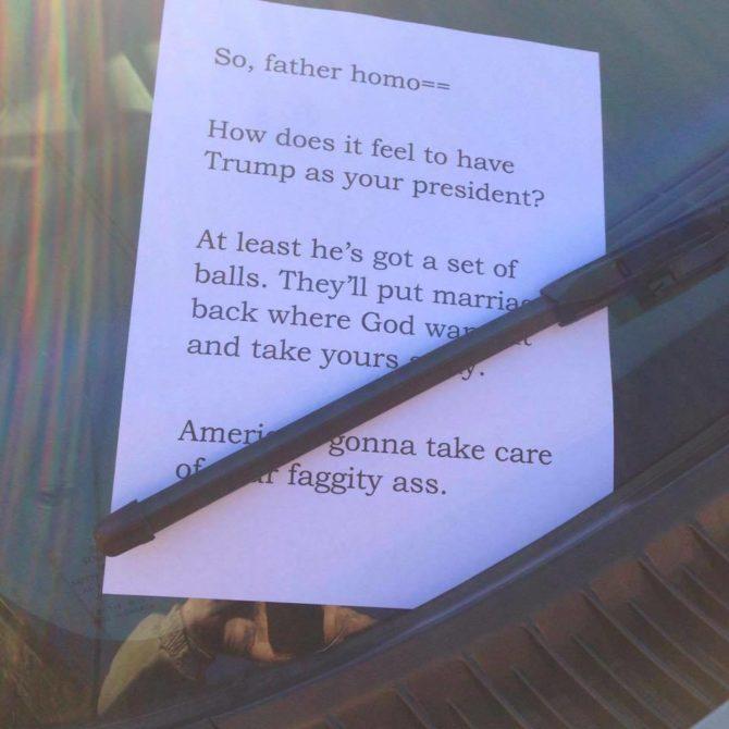 Homophobic Note