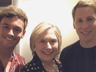 Bill and Hillary Clinton catch a movie with Tom Daley and Dustin Lance Black