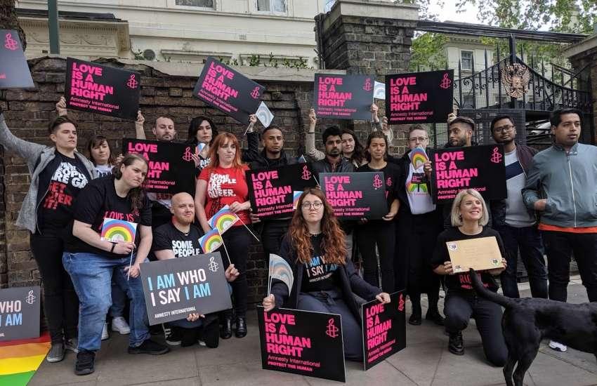 Dozens of LGBTI activists made their voices heard