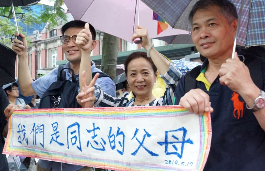 Parents of LGBTI Taiwanese celebrate the win (Photo: Provided)