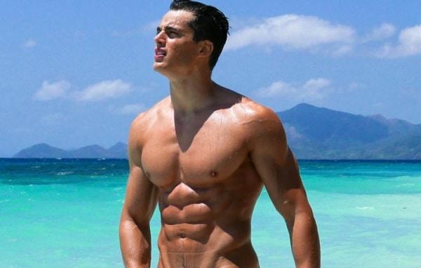Pietro Boselli naked on the beach