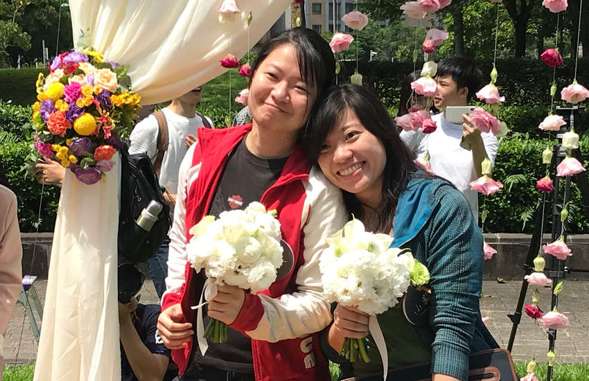 This same-sex couple was one of the first to get married in Asia (Photo: Provided)