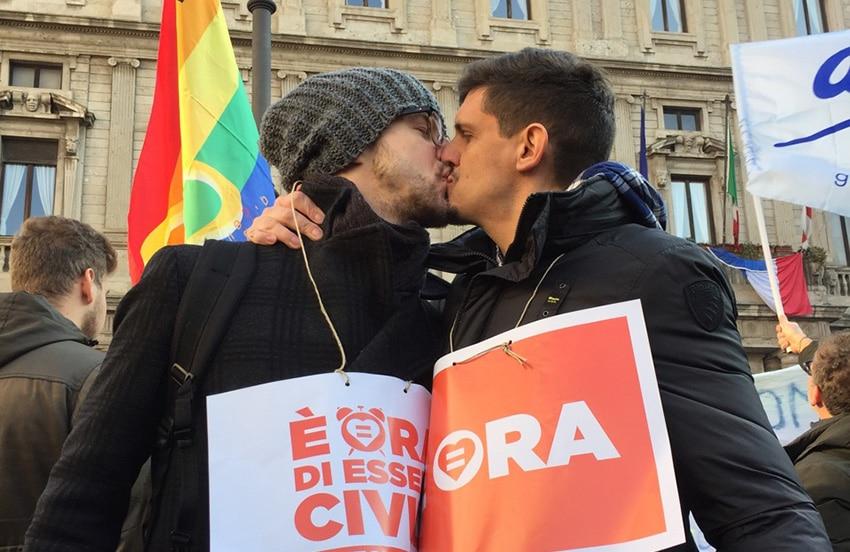 Tom York and Alberto Milazzo protesting for civil unions.