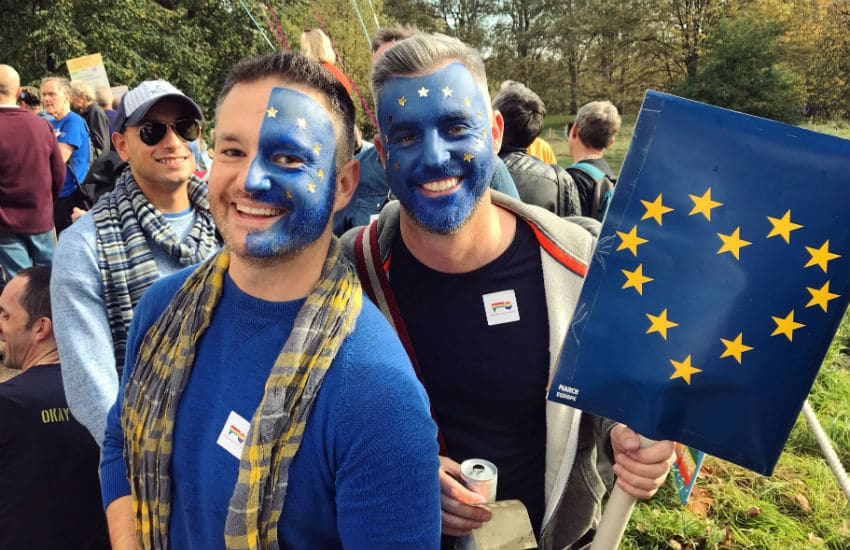 Pro-EU campaigners at the last major People's Vote March in London, 20 October 2018