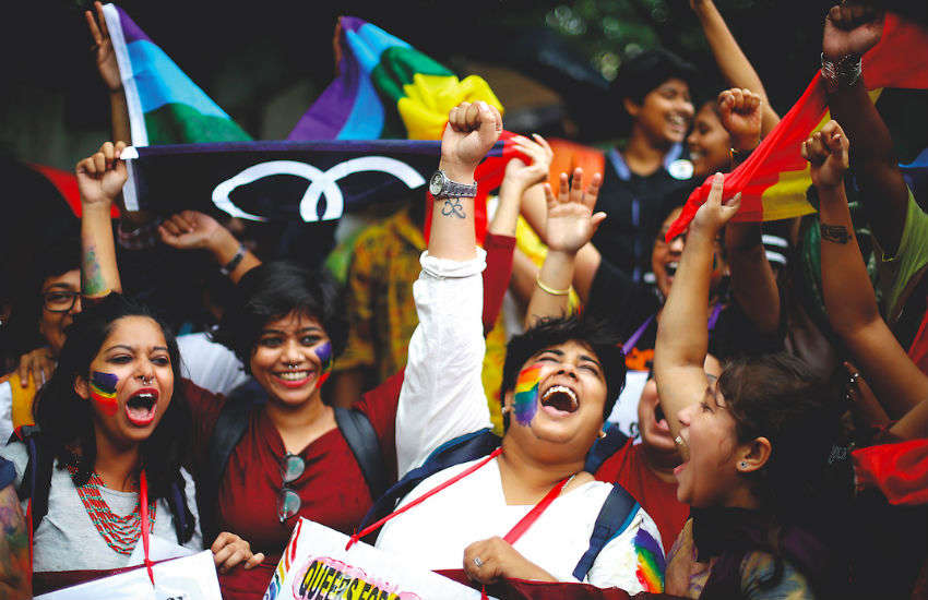 LGBTI campaigners celebrate in Kolkata, India, September 2018, on hearing that gay sex is no longer a crime