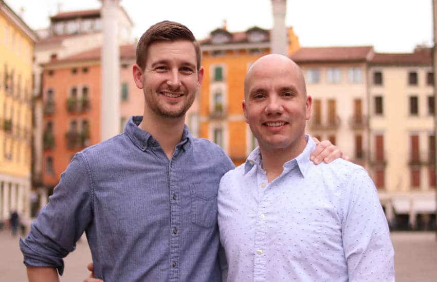 US Army Major Sean K. O'Brien (R) and his husband Josh Hillbrand.