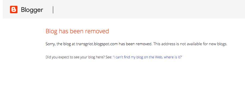 Transgriot Blog Removed