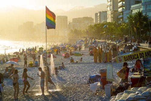 Pride celebrations continue at Ipanema Beach, Rio de Janeiro 2018.