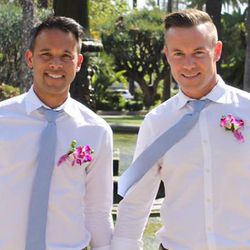 Former Univ. of Utah skier Ryan Quinn (right) and soccer player Chris Fajardo married in Los Angeles April 27, 2017.