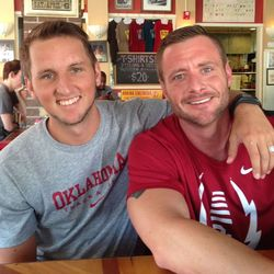 Oklahoma University pole vaulter Tanner Williams married his fiancé Scott Williams on June 19, 2014.
