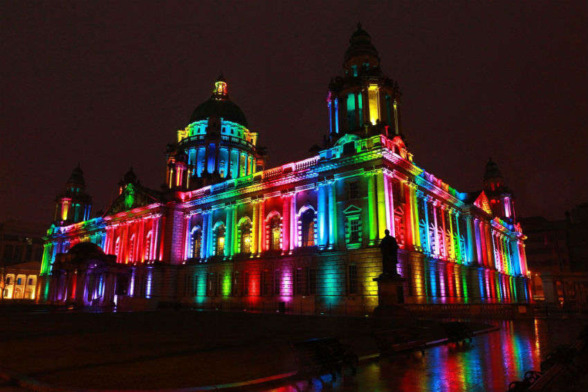 Belfast City Hall lit in rainbow colors to show support for LGBTI communities