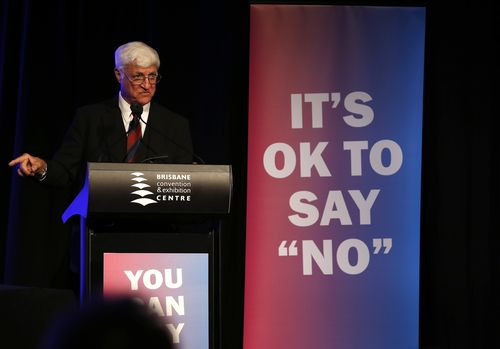 Independent MP Bob Katter speaks at the Coalition for Marriage 'No' state campaign rally at the Convention and Exhibition Centre in Brisbane on September 22. (AAP)