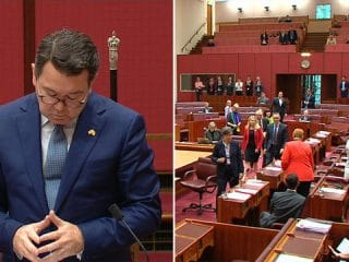 Dean Smith breaks down in Senate over same-sex marriage bill