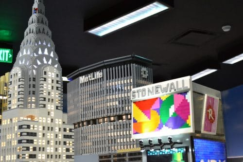 The LEGOLAND Discovery Center in Westchester, New York is displaying a Pride parade in their reproduction of Times Square.