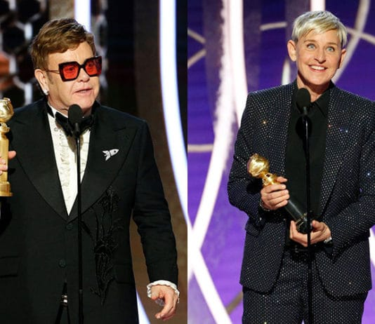 Elton John and Ellen Degeneres at Golden Globe Awards
